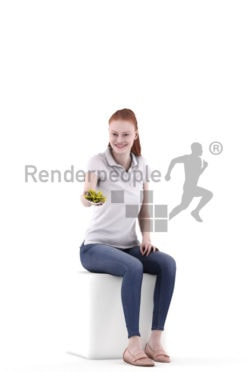 3D People model for 3ds Max and Sketch Up – eurpean female in casual look, sitting and offering chips